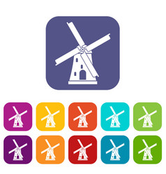 Ancient windmill icons set vector