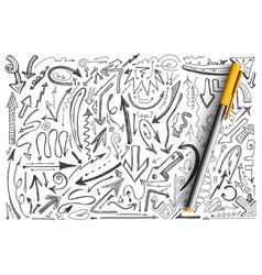 arrows hand drawn doodle set vector image
