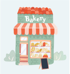 Bakery shop front view vector