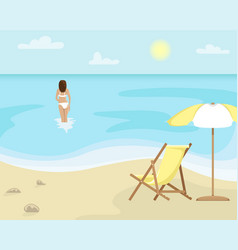 beach landscape with sun lounger and sun umbrella vector image