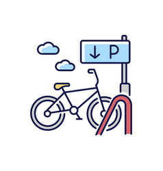 Bicycle parking rack rgb color icon vector