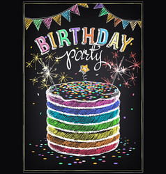 birthday invitation card birthday cake with vector image