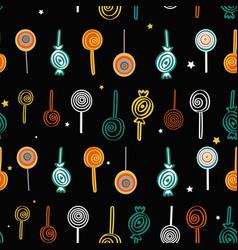black lollipops seamless pattern background vector image