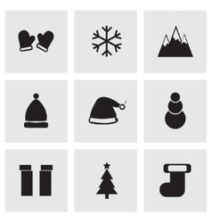 black winter icons set vector image