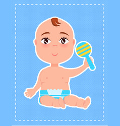 boy with plastic rattle in hand first toy poster vector image