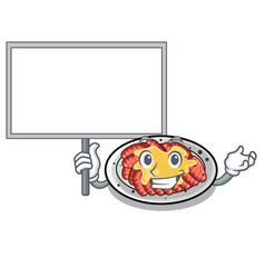 Bring board carpaccio is served on cartoon plates vector