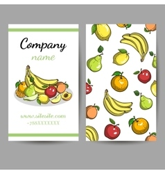 Business Cards With Fruits vector