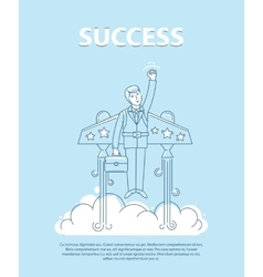 Businessman flying on the jetpack to success Line vector