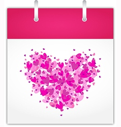 Calendar page for Valentines day vector image