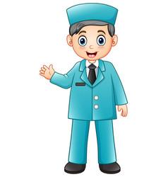 cartoon male nurse in blue uniform vector image