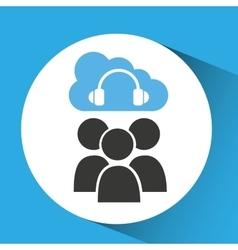 Cloud computing service headphones audio vector