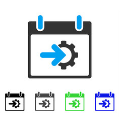 Cog integration calendar day flat icon vector