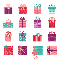 collection gift boxes on white background vector image