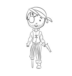 coloring book pirate cartoon character vector image