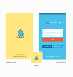 company water drop splash screen and login page vector image