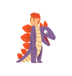 Cute boy wearing dragon costume kid dressed for vector