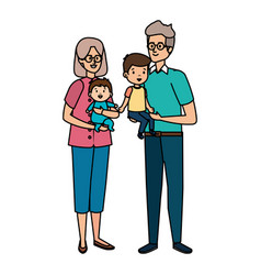 Cute grand parents couple with grandson and baby vector
