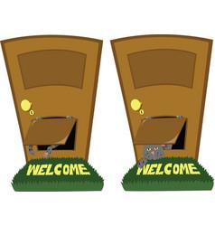 Door with a cat flap vector