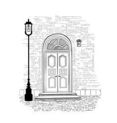 Doorway background house entrance building facade vector