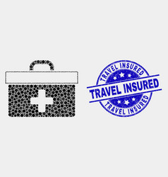 dot medical case icon and grunge travel vector image
