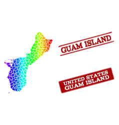 Dotted spectrum map of guam island and grunge vector