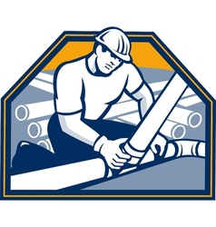 Drainlayer Worker Laying Pipes Retro vector image