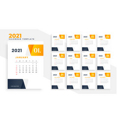 Elegant 2021 moden business calendar design vector