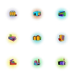 Factory icons set pop-art style vector image