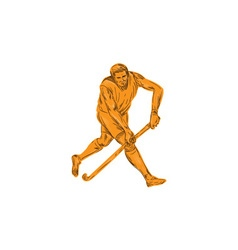 Field Hockey Player Running With Stick Drawing vector