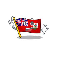 Finger flag bermuda cartoon on pole vector