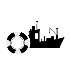 fishing boat and life preserver icon vector image