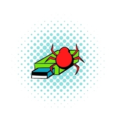 Flash drive infected by virus icon comics style vector