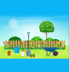 garden landscape with plants and garden tools vector image