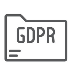 gdpr folder line icon information and document vector image