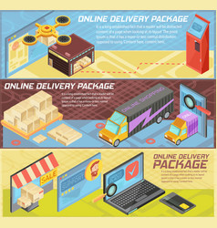 goods online delivery isometric banners vector image