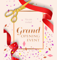 Grand opening event lettering with confetti vector