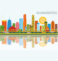 guangzhou skyline with color buildings blue sky vector image