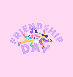 Happy friendship day card friends high five vector