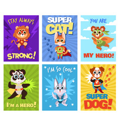 hero animals cards children brave zoo superheroes vector image