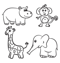 Hippo monkey giraffe elephant black and white vector