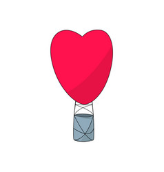 hot air balloon heart shape vector image