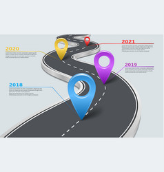 Infographic car road timeline with pointers vector