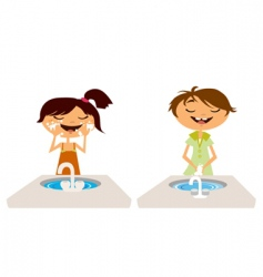 kids washing face and hand vector image