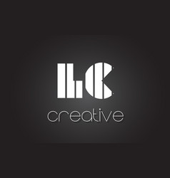 Lc l c letter logo design with white and black vector