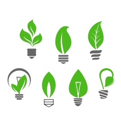 Light bulbs with green leaves vector image