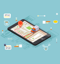 Logistic mobile delivery tracking app 3d isometric vector