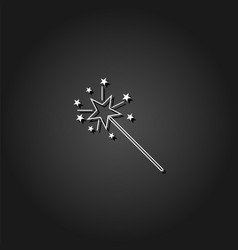 Magic wand icon flat vector