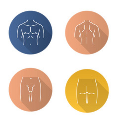 Male body parts flat linear long shadow icons set vector
