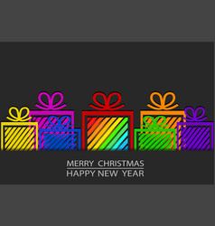Merry christmas amp happy new year greeting card vector