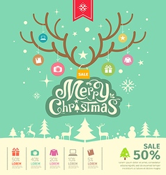 Merry Christmas reindeer sale concept vector image
